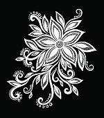 아름다운 흑백 흑백 꽃 및 잎 격리됨에.