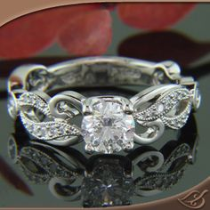 Love the band! Just needs a princess cut instead. Design Your Own Ring, Unique Engagement Rings and Wedding Bands, Custom Jewelry Organic Diamond Fleur Mounting Wedding Engagement, Wedding Bands, Engagement Rings, Wedding Ring, Green Lake Jewelry, Schmuck Design, Beautiful Rings, Stunningly Beautiful, Gorgeous Hair