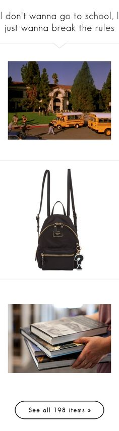 """I don't wanna go to school, I just wanna break the rules"" by demiwitch-of-mischief ❤ liked on Polyvore featuring home, kitchen & dining, bags, backpacks, black nylon, knapsack bag, nylon bag, day pack backpack, backpack bags and nylon backpack"