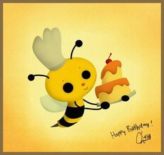 cute chef bee with birthday cake =)