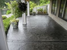 Dolphin Grey Concrete Patios Narrows Construction Gig Harbor, WA Best Picture For patio exterieur For Your Taste You are looking for something, and it is going to tell you exactly Read Stained Concrete Porch, Poured Concrete Patio, Stamped Concrete Driveway, Concrete Front Porch, Concrete Driveways, Walkways, Driveway Paving, Cement Patio, Concrete Color