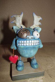 Valentine Love Monster grandes dents et cors par JanellBerryman