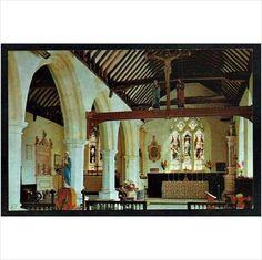 Isle of Wight postcard Godshill Church interior - altar, stained glass windows on eBid United Kingdom