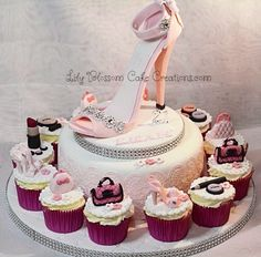 A stunning Pink Stiletto Cake and Cupcakes designed for your special lady's birthday.