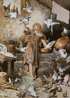 "Art | ""Cinderella"" by Brothers Grimm. cinderella speaks with birds and wildlife."