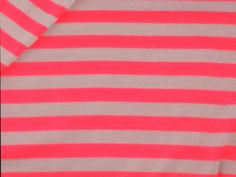 Striped Salmon  and Grey Jersey Knit Fabric