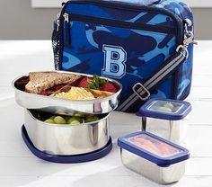Navy Stainless Steel Cold Pack Lunch Bag Food Storage Set