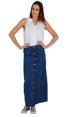 a847dda55 Button Front Long Denim Skirt - Stonewash   Long Denim Skirts   Denim Skirts  Dungarees Online