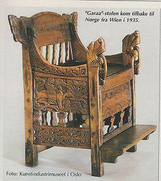 Antique Norwegian HandCarved wooden chair.