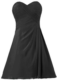 ANTS Women's Simple Short Bridesmaid Dress Chiffon Homecoming Dresses ** Unbelievable  item right here! : black dress