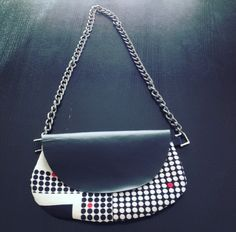 Leather&fabric pochette with silvery iron chain handle