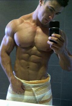 Sexy hunk's mirror selfie 6pack wrapped in a towel