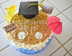 Beach Themed Graduation Cake