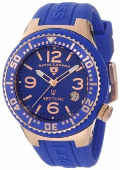 Swiss Legend Women's 11044P-RG-03 Neptune Royal Blue Dial Royal Blue Silicone Watch Swiss Legend. $118.50. Date window at 4:00. Royal blue dial with rose gold tone and white hands, rose gold tone hour markers and Arabic numerals; luminous; unidirectional stainless steel bezel with royal blue top ring; screw-down rose gold ion-plated stainless steel crown. Water-resistant to 100 M (330 feet). Sapphitek crystal; rose gold ion-plated stainless steel case with royal blue silicone c...