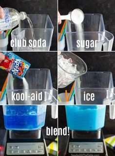 Learn how to make a slushie in your blender at home with just 4 ingredients. This homemade slushie recipe, using Kool-aid powder, is a summertime favorite and comes together in less than 5 minutes! Candy Drinks, Kid Drinks, Frozen Drinks, Summer Drinks, Alcoholic Drinks, Camping Drinks, Cocktails, Beverages, Healthy Smoothie