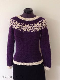 Håndstrikket i shetlandsuld og ren bomuld Fair Isle Knitting, Hand Knitting, Knitting Patterns Free, Free Pattern, Icelandic Sweaters, Knitting Projects, Handicraft, Dance Posters, Azula