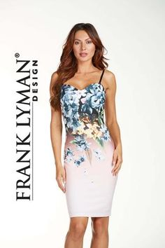 Frank Lyman Spring 2017. Stylish floral scuba knit dress with spaghetti straps and built in bra. Proudly Made In Canada