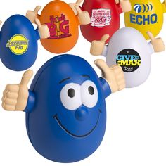 This egg-shaped personalized custom stress reliever ball will keep moral up and turn frowns upside down in the workplace! Made of soft polyurethane, the Goofy Wobbly does not tip over, no matter how many times it is pushed to the side. Make your next promotional item giveaway unforgettable with these amazing wobbly stress relievers!