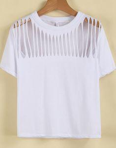 11.90 White Short Sleeve Hollow Loose T-Shirt