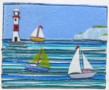 FUSED GLASS PICTURE , SAILING BOATS AND LIGHTHOUSE - looks like one of Emma White's