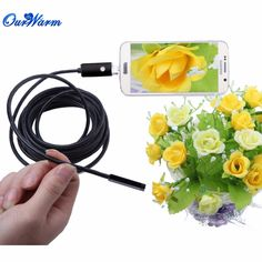 Black/Gold 2 in 1 Android Endoscope Camera 7mm Lens 6 LED USB Waterproof Borescope Inspection Camera with 5m Length Cable