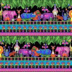 RJR Sue Marsh Black Jungle Things Zebra Lion Elephant Blue Orange Kids Bright Border Fabric BTY by PrivateSourceQuiltin on Etsy
