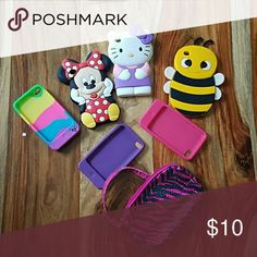 Ipod Touch 4th Generation cases Ipod Touch 4th Generation cases. Justice rainbow nubby, Justice wallet, Minnie Mouse, Hello Kitty, bumblebee, plain pink, plain purple. All like new! Justice Accessories
