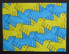 Math with a tessellation art lesson plan Escher Kunst, Escher Art, Mc Escher, Math Projects, School Art Projects, Math Crafts, High School Art, Middle School Art, Tessellation Art