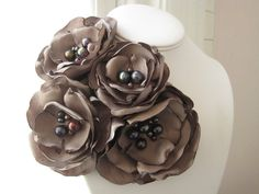 fabric flower brooch four bloom corsage pin in by RiRiFisch.