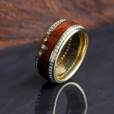 Diamond Eternity Wedding Band in Yellow Gold With Mahogany Wood