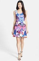 Nicole Miller 'Blue Eden' Tidal Pleat Print Ruffle Hem Jersey Dress-Nordstrom