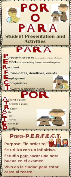 Por o Para Presentation and Student Activities. Great way to distinguish when to use each!