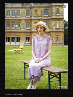 Downton Abbey Season 4 ~ Lady Edith Crawley played by actress Laura Carmichael. Lovely embroidery details on a simple summer dress.