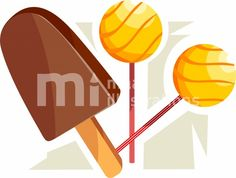 Illustration of an ice candy and sweet candies