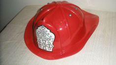"Childs Fire Chief Helmet by CastleToys Red Hard Plastic Adjustable Headband 4.5"""