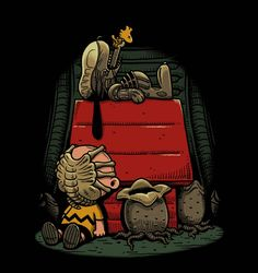 Charlie Brown and Snoopy Xenomorph. Artwork by Ben Chen. Xenomorph, Arte Pop, Geeks, Photo Tag, Winter Thema, Garfield, Films Cinema, Alien Vs Predator, Snoopy And Woodstock