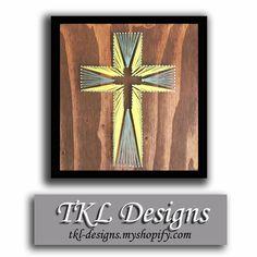 Custom String Art Cross 12x12, Nail Art for Easter, Yellow & Gray