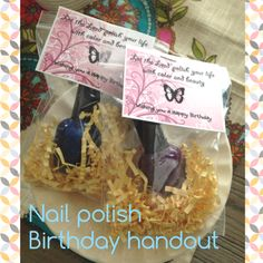 Nail Polish handouts -  birthday hand out for Young Women