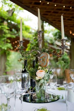 Silver 3 arm candelabra wrapped in Ivy and glass jar with peach rose stem table centre piece - Image by Alistair Veryard Photography - A Claire Pettibone gown for a wedding at Maunsel House with Dessy bridesmaid dresses and a Choccywoccydoodah cake. Peach Rose, Peach Flowers, All Flowers, Wedding Flowers, Candelabra Wedding Centerpieces, Wedding Decorations, Table Decorations, Wedding Table Names, Wedding Table Settings