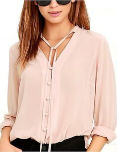 5708ad4f90b Fashion Women Pink Shirts Solid Color Single Breasted V Neck Long Sleeve  Blouse Casual Female Chiffon Shirt