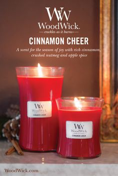 Cinnamon Cheer makes the holidays a little brighter with the scents of rich cinnamon, crushed nutmeg & a hint of apple spice. WoodWick® candles use a natural, wooden wick that creates the soothing sound of a crackling fire #cinnamon #cheer #spice #fragrance #woodwick #candle #crackles
