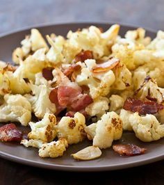 Roasted Cauliflower Recipe with Bacon and Garlic