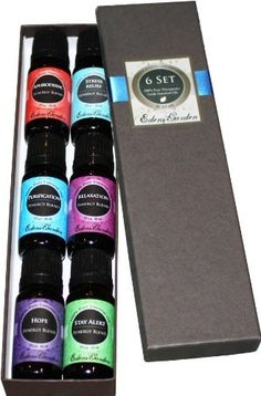 Synergy Blends- (Aphrodisiac, Hope, Purification, Relaxation, Stay Alert, Stress Relief) Top 6 Basic Therapeutic Grade Aromatherapy Sampler Pack 100% Pure Essential Oil Gift Set- 6/10 ml by Edens Garden, http://www.amazon.com/dp/B002RSVTHQ/ref=cm_sw_r_pi_dp_IHYtsb0MWPDF6