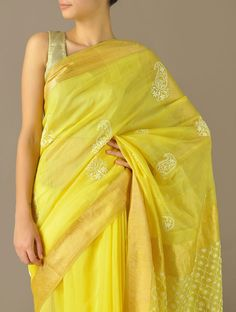 Lemon Yellow Jaal Pallu & Gold Zari Jaalidar Kairi Chanderi Saree