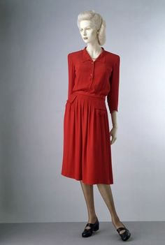 ~Day dress, Utility Scheme Day dress Edward Molyneux (1891-1974, designer) for the Utility Scheme 1942 London Rayon crepe, with matching composition buttons~