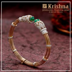 Diamonds are the girls best friend and Krishna twin emeralds with the sparkling embodiment of faceted diamonds in the bracelet is the perfect choice. walk into store Krishna Jewellers Pearls Gems in Jubliee Hills Hyderabad . 09 March 2019