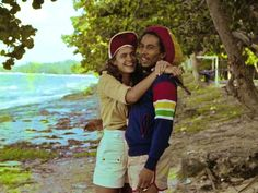 1976. Bob Marley on the beach with Miss World Cindy Breakspeare.