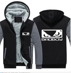 Badboy Bad Boy Zipper Thick fleece  jacket unisex coat winter fleece constract color hop rap hoodie