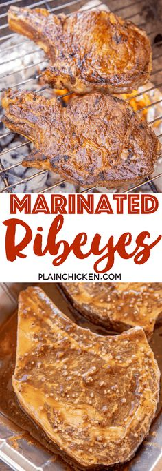 Marinated Ribeyes – the most flavorful steaks we've ever eaten! Marinate the ribeyes in a mixture of BBQ sauce, Worcestershire… Steak Marinade Recipes, Grilled Steak Recipes, Marinated Steak, Meat Marinade, Beef Recipes, Cooking Recipes, Game Recipes, Best Ribeye Steak Marinade, Gastronomia