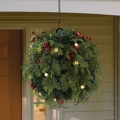 Cordless Pre-Lit Cedar and Berry Kissing Ball with Hanging Chain